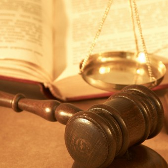gavel, law book, scales of justice